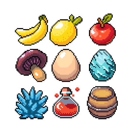 Set of 8-bit pixel graphics icons. Isolated vector illustration. Fruits, elixir, potions, mushrooms, eggs. Illustration