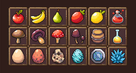 Set of 8-bit pixel graphics icons. Isolated vector illustration. Fruits, elixir, potions, mushrooms, eggs