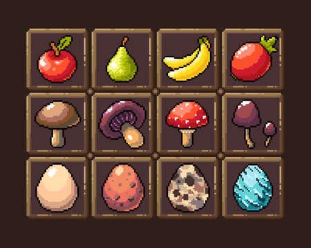 Set of 8-bit pixel graphics icons. Isolated vector illustration. Game art. Fruit, elixir, potion, mushrooms, eggs,