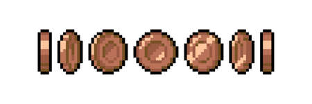 Set of 8-bit pixel graphics icons. Isolated vector illustration. Game art. Coins of bronze for animation