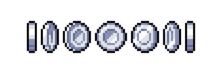 Set of 8-bit pixel graphics icons. Isolated vector illustration. Game art. Coins of silver for animation
