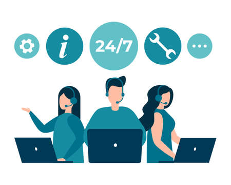 Customer service, hotline operators advise customers. 24 7 global online technical support, call center, call processing system. Vector isolated EPS 10 .