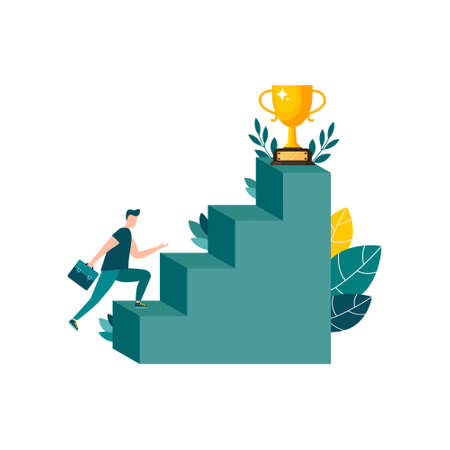 Businessmen move up the ladder to the goal in the form of a gold cup, career planning, the path to the goal. Vector illustration isolated background. motivation