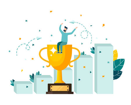 Golden cup trophy, a symbol of victory, the team celebrates victory. Modern flat style vector illustration
