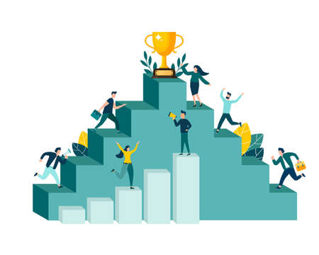 Vector illustration, people running to their goal, moving up with motivation, towards the goal. Illustration