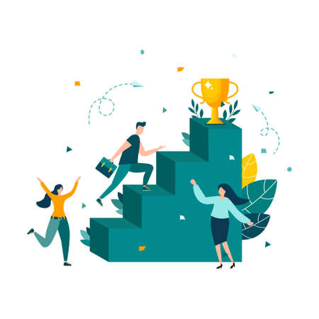 People run to their goal on the stairs, moving up. Vector illustration isolated background.