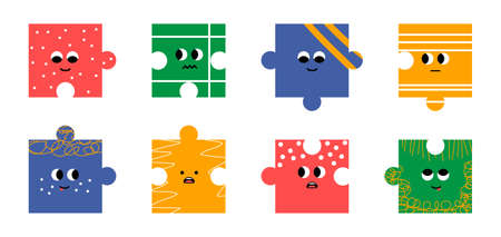 Abstract puzzle. Different emotions of the characters. Cartoon style. Flat design, trendy vector illustration, isolated white background.