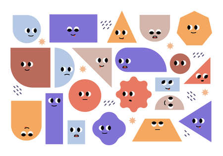 Set of bright basic geometric shapes with facial emotions. Different shapes. Cute characters. Vector illustration for kids, isolated background Illustration