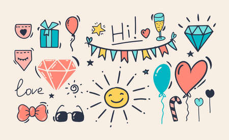 Doodle style hand drawing. Color drawings of the holiday, birthday. Isolated vector illustration. Illustration