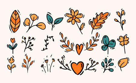Doodle style hand drawing. Colored plants, flowers. Isolated vector illustration.