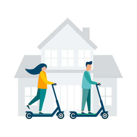 People ride scooters. Modern illustration. Flat vector. Isolated on white background.
