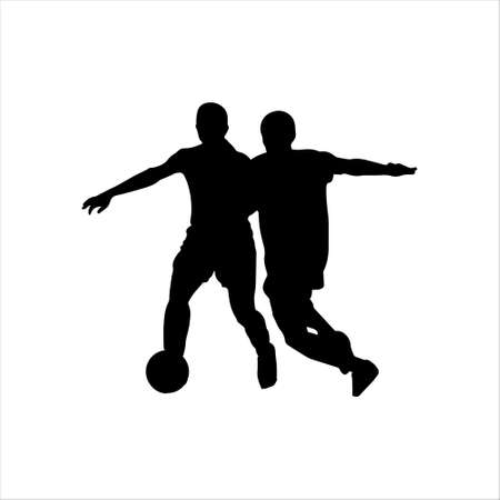 Silhouette of a football player with a ball. Athlete black stencil. Icon, football player. Vector illustration isolated white background.