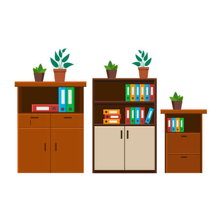Cabinet, file cabinet icon. Vector isolated background Illustration