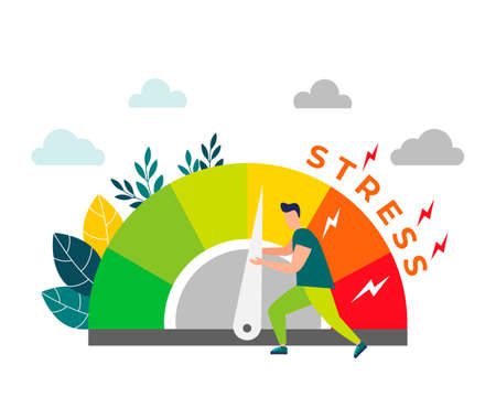 Relieve stress. Stress levels are reduced through the concept of problem solving. Tired of frustration, emotional overload. Vector illustration in flat style .
