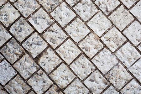 Stone walkway. Background of stone gray bricks. Haifa Israel. Foto de archivo