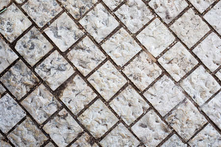 Stone walkway. Background of stone gray bricks. Haifa Israel. 免版税图像