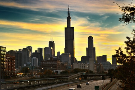 Downtown Chicago early in the morning Stock Photo