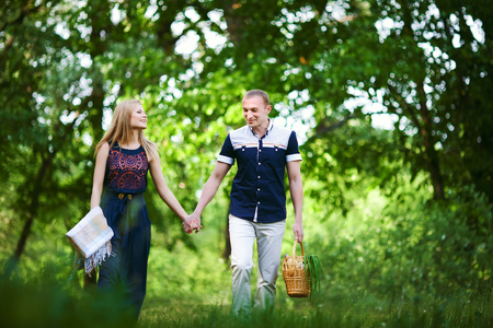 in love couple going on picnic Stock Photo