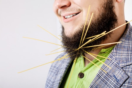 funny bearded man: fat smiling man with beard Stock Photo