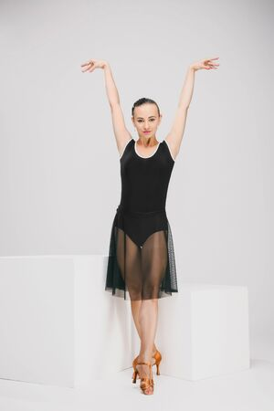 dancer in black and transparent dress Stock Photo