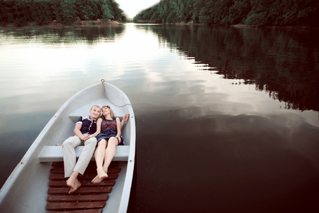 happy man and women on boat