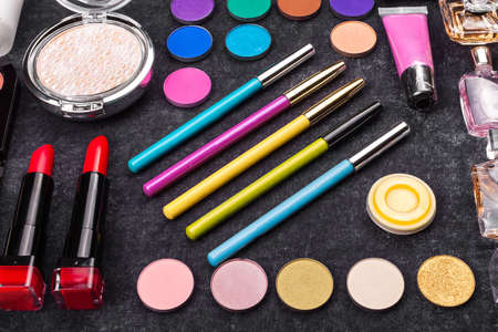 colorful luxury decorative cosmetics. colorful patern makeup Imagens