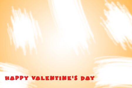 Orange background with white brush strokes and the text Happy Valentines Day. Illustration for the holiday of all lovers on February 14