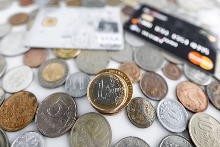 credit union: Money, credit bank card and coins