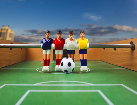 foosball table soccer .sport teame football players Stock Photo