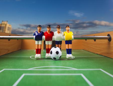 foosball: foosball table soccer .sport teame football players Stock Photo