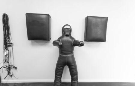 Palestra per praticare kickboxing nel centro fitness Falcone. Bielorussia, Minsk, aprile 2017 Archivio Fotografico - 81825824