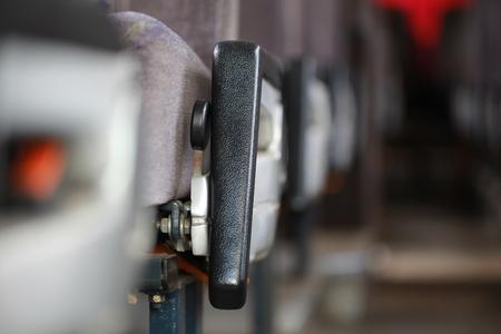 comfortable: Armrests of passenger bus seats Stock Photo