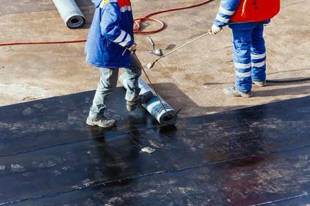waterproofing foundation flat roof repair Foto de archivo