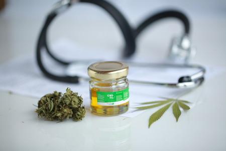 cannabis, CBD oil ,stethoscope and recipe Stock Photo
