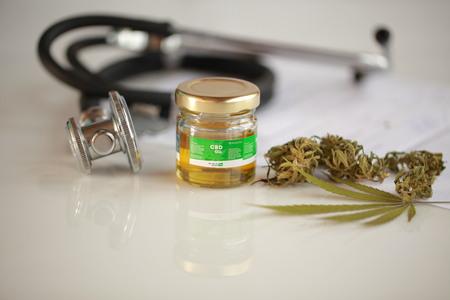 cannabis, CBD oil ,stethoscope and recipe Stock fotó