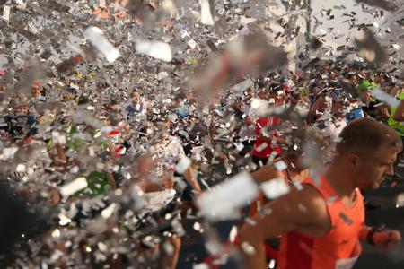 Belarus, Minsk, September 2018: athletes and fans of the Minsk half marathon start finish