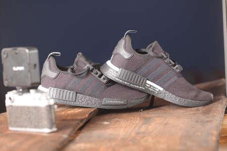 black sports shoes adidas model NMD_R1.Belarus,Minsk,2020