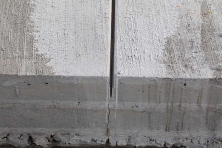expansion joint construction of a cement road. washed concrete technology