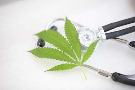 cannabis leaf medical stethoscope on white table. marijuana and health. hemp concept Imagens
