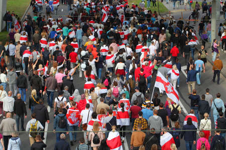 people freedom flags protesters in Minsk. belarus, minsk, 2020