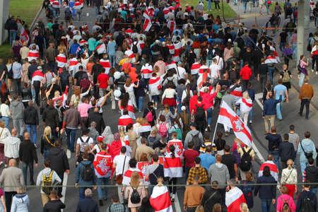 people freedom flags protesters in Minsk. belarus, minsk, 2020 Editorial