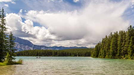 Two Jack lake in Banff National Park, Alberta, Canada Stock Photo