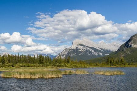 ecotourism: Beautiful Lake Vermilion in the mountains of Banff National Park. Mountains and lakes. The Canadian province of Alberta. Concept of active tourism and ecotourism