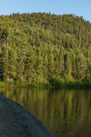 Mountain lake in mountains at sunny day British Columbia Canada Stock Photo