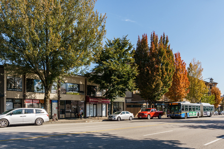 VANCOUVER, CANADA - September 18, 2018: View from East Hastings Streets in Vancouver British Columbia.