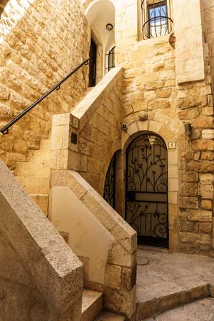 JERUSALEM, ISRAEL - April 2, 2018: On the narrow street of the old part of Jerusalem Editorial