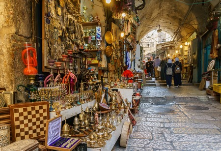 JERUSALEM, ISRAEL - April 2, 2018: east market in old Jerusalem with variety of middle east products and souvenirs Editorial