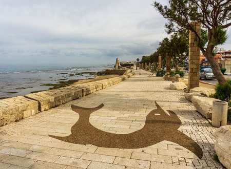ACRE, ISRAEL - April 3, 2018: seafront view in Acre city center Israel. Editoriali