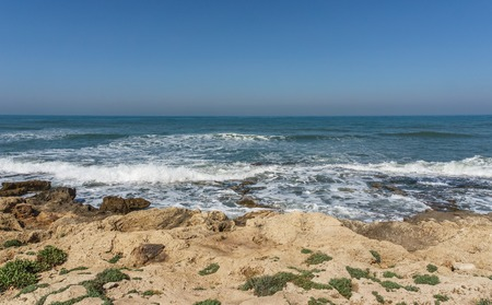 rough coast shore on Mediterranean sea in north Israel