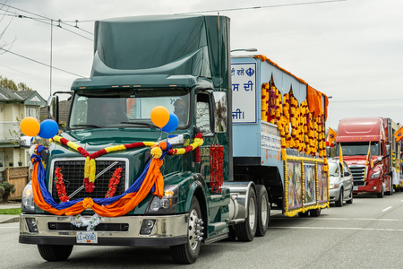 VANCOUVER, CANADA - April 14, 2018: decorated truck on the street during annual Indian Vaisakhi Parade. Redakční